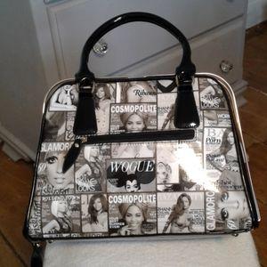 Fashion Parody Magazine handbag tote black & white